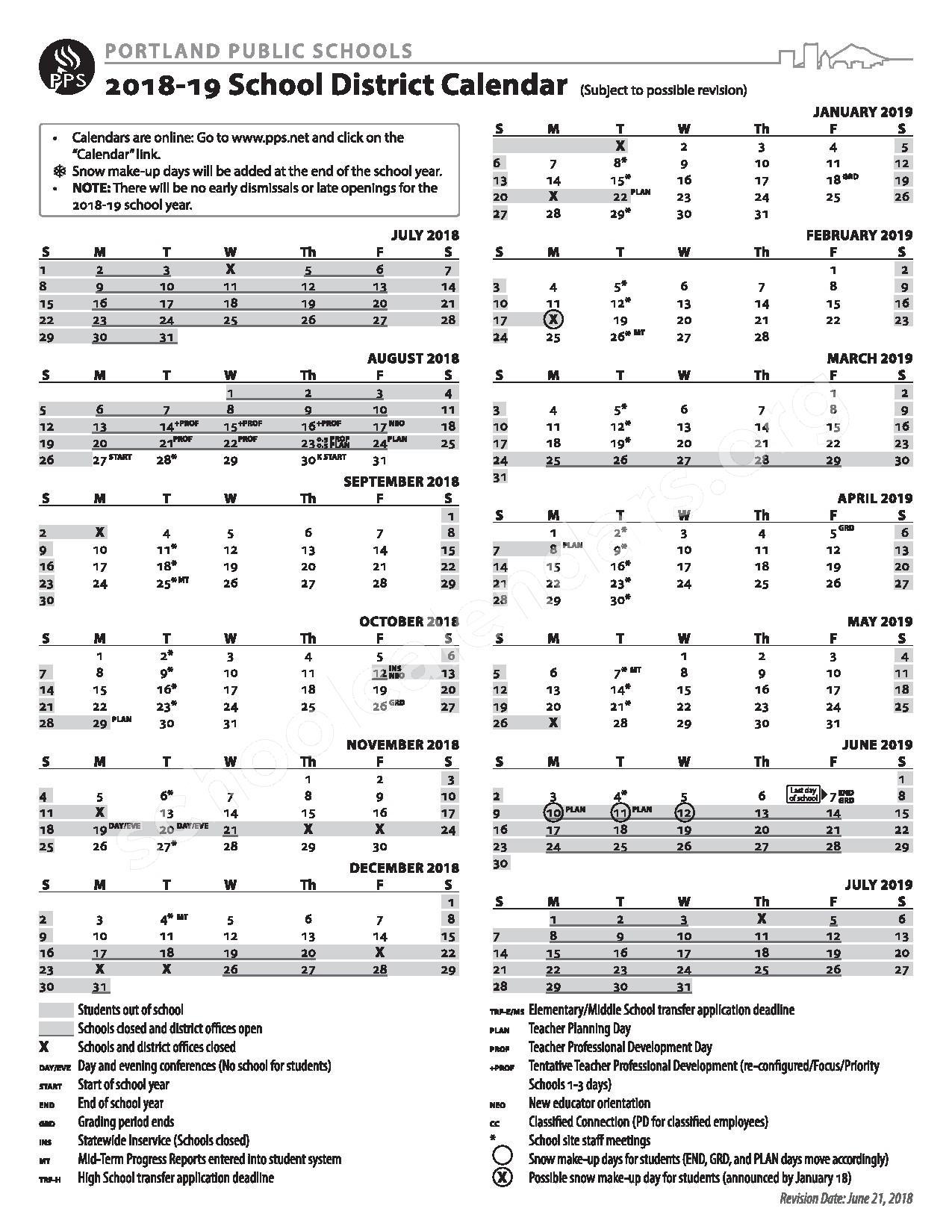 2018 - 2019 District Calendar – Franklin High School – page 1