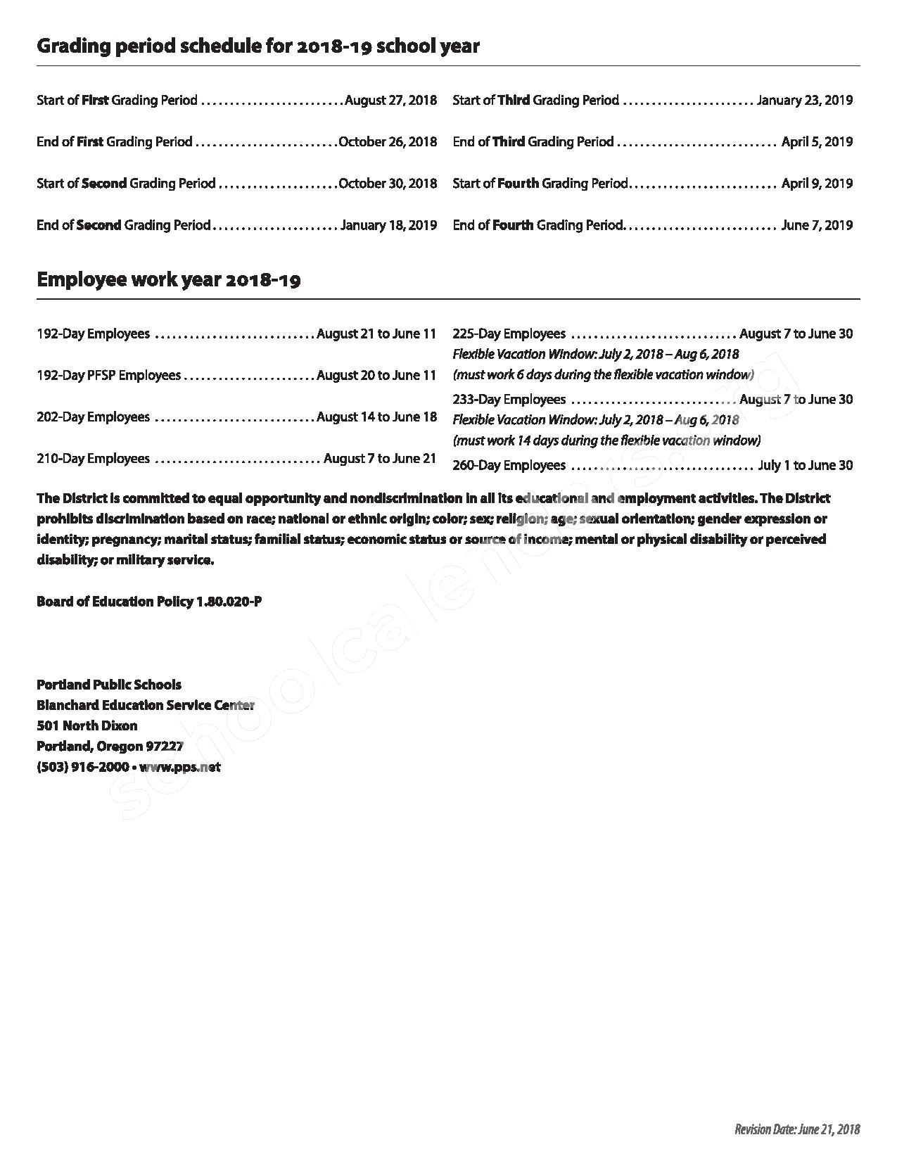 2018 - 2019 District Calendar – Franklin High School – page 2